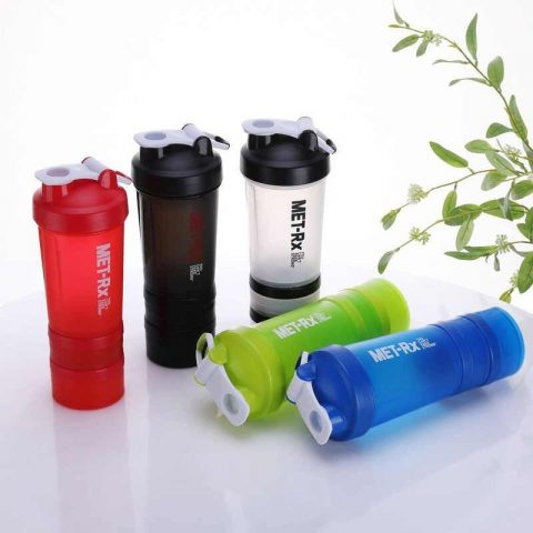 MET-Rx Classic Protein Shaker Bottles for Sports, 3 in 1 lock storage with Mixing ball 20-Ounce