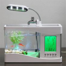 Mini USB LCD Desktop Lamp Fish Tank Aquarium with LED Clock