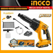 Ingco P20S Cordless Lithium-Ion Pressure Washer with 6-pattern spray gu-n, battery and charger included CPWLI20082